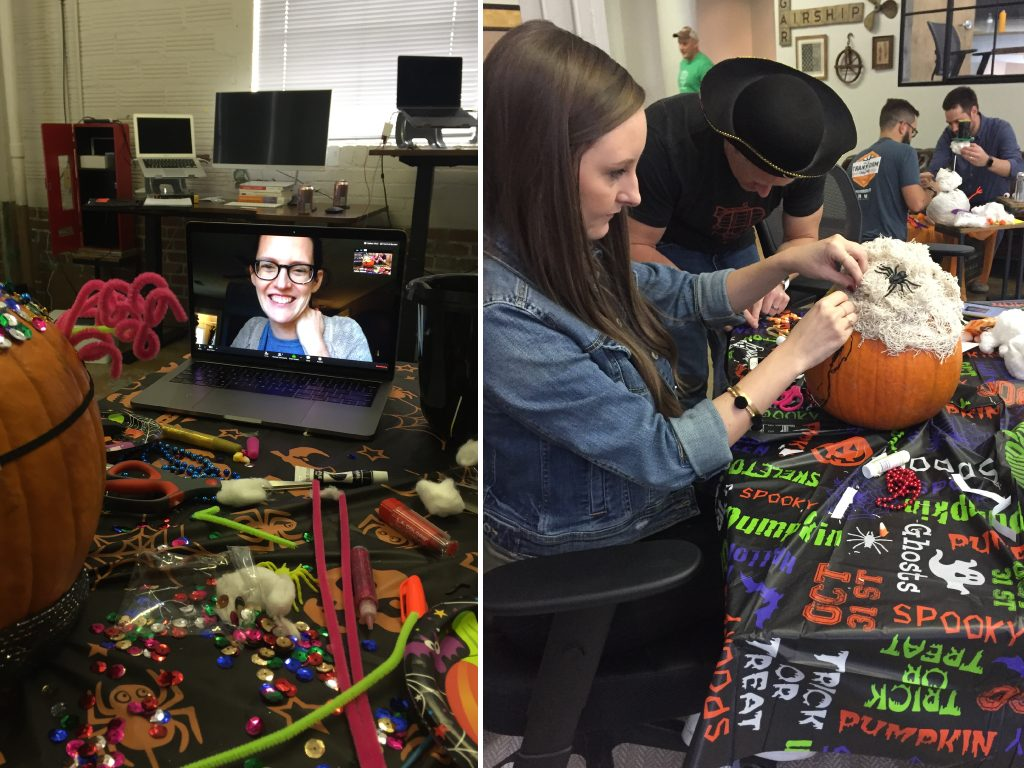 Creativity Constraints - Halloween Edition: The teams at work during the competition, even our remote worker Lindsay!!