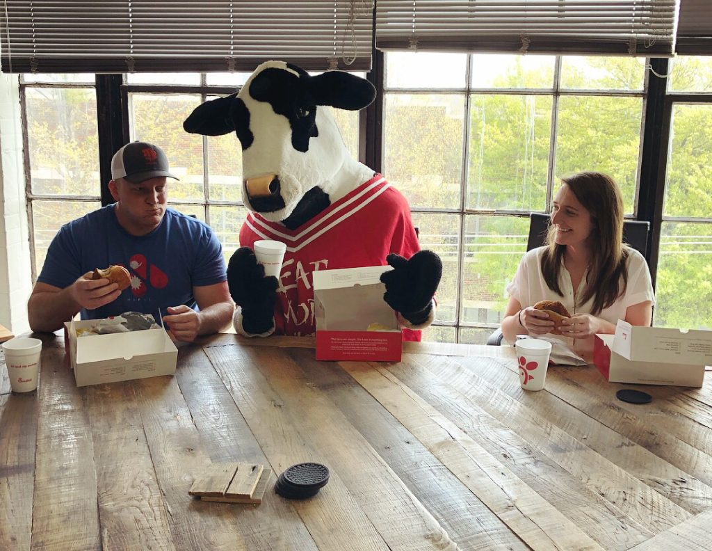 Meet the Airship Crew! Here's a shot of our crew having lunch with the Chick-fil-A cow, nbd