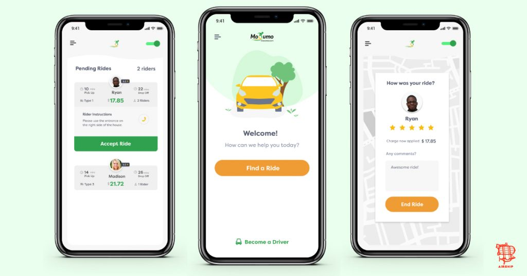Scary-Good UX Design - Mobile app mockups by Airship for Moovmo