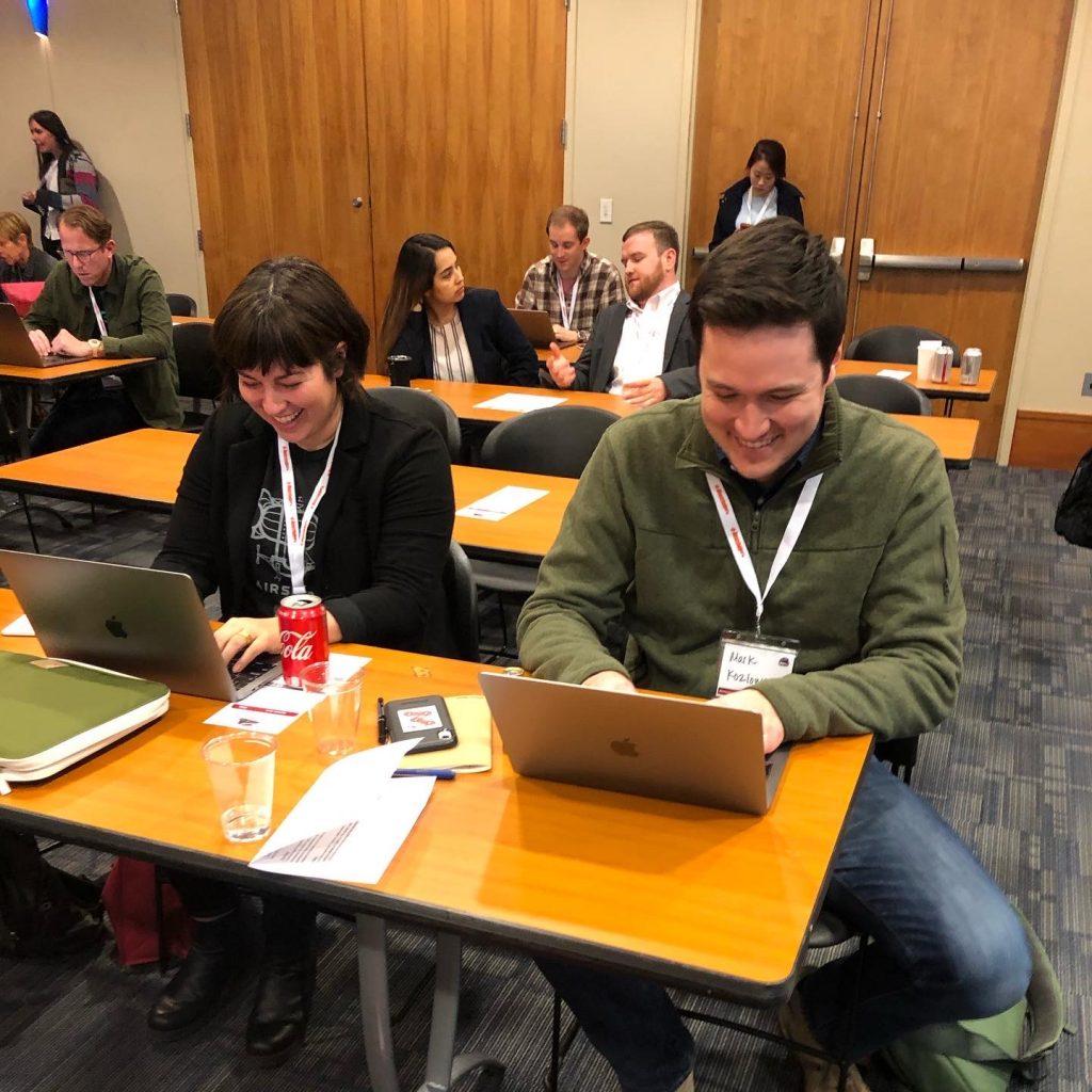 Crystal Aya and Mark Kozlowski at a Ruby on Rails event in Birmingham, AL