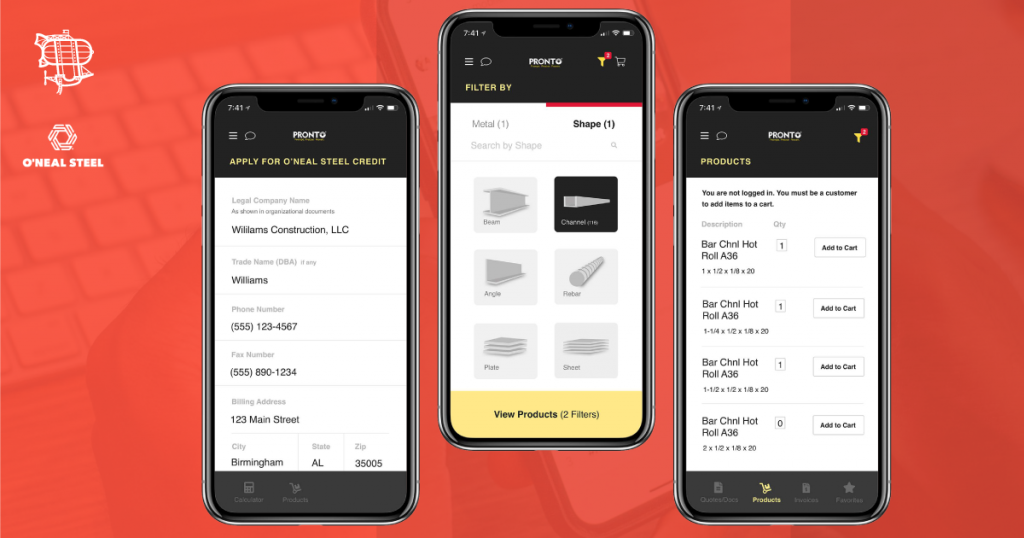 Check out the performance of the O'Neal Steel PRONTO mobile app built by Airship