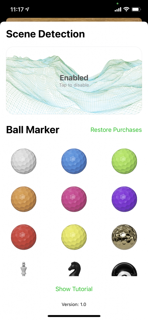 Show different colored ball marker images